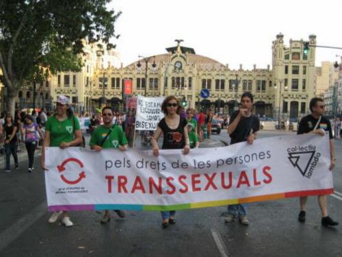 Pancarta del grupo de transexuales del colectivo LAMBDA